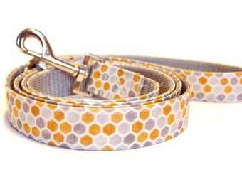 Honeycomb Dog Leash, Designer Leash, Fabric & Webbing Lead, 4ft 5ft 1.5 foot Traffic Lead, Dog Accessories, Designer Dog Leash, Modern Dog