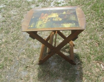 Wood Folding Tray Table, folding table, mid century,wood tray,tray picture,Tray Stand, TV tray, vintage tray, hand painted tray