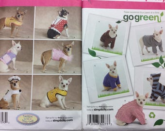 Simpllicty 2393 UNUCT Dog Clothes Pattern Designs For Dinky Dogs Size XXS - M Dog Clothes For Small Dogs Sewing Pattern FF All Sizes