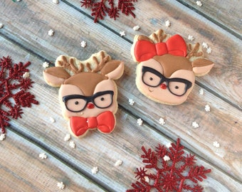 Hipster Reindeer (faces) cookie cutters