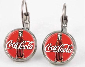 Vintage Coca Cola Leverback Earrings