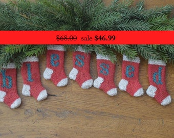 BLESSED Hand-Knit Christmas Stocking Ornaments   SALE