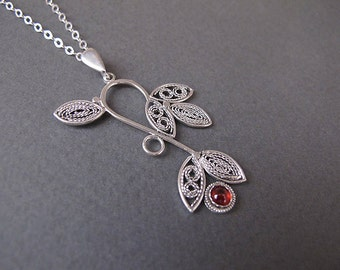 Filigree Necklace,Silver necklace, Israel jewelry, Garnet  necklace ,Red necklace,Silver filigree necklace