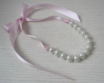 big white pearl with baby pink Ribbon,Ribbon Ties necklace,baby pink ribbon necklace, large pearl necklace,Glass Pearl Necklace