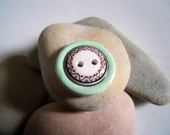 Hand painted ceramic button # 4