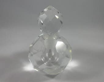 Vintage Clear Glass Perfume Bottle with stopper - bathroom vanity dresser beautiful prism girly