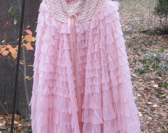 50s pink ruffled formal small size