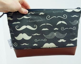 READY TO SHIP Moustache Wash Bag, Men's Shaving Kit Bag, Male Grooming Toiletry Bag, Father's Day gift, gift for Dad
