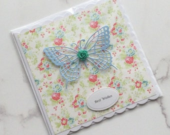 Handmade Butterfly Greeting Card Birthday Card Best Wishes Card