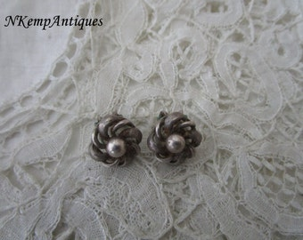 Vintage silver earrings 925 clip ons