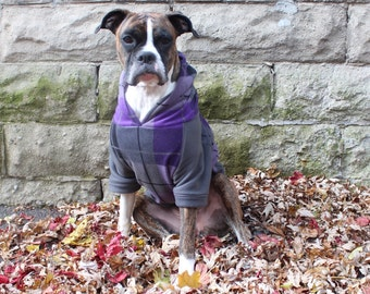 Dog Hoodie in Purple Plaid, Large Dog Sweater, Warm Fleece, Perfect Dog Lovers Gift