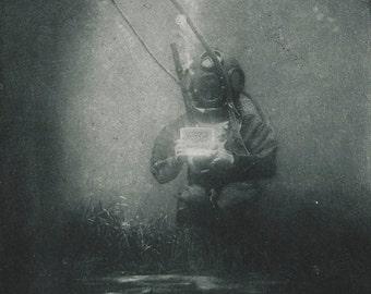 First Underwater Photograph, Scuba Diver, 1899, 1800's.