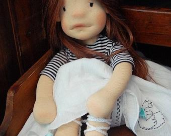 "Mel 40 cm (16 "") OOAK natural fiber hand made waldorf inspired doll"
