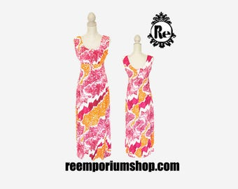 Vintage Dress 1960's Maxi Hawaiin Island Scoop Neck Sleeveless Empire Waist Summer Dress Pink Purple White Orange Abstract Pattern No. 33