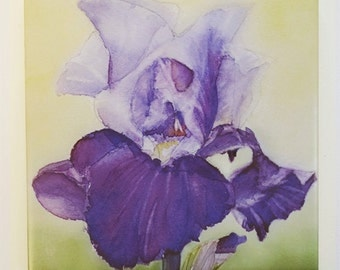 Purple Iris Tile Trivet Watercolor