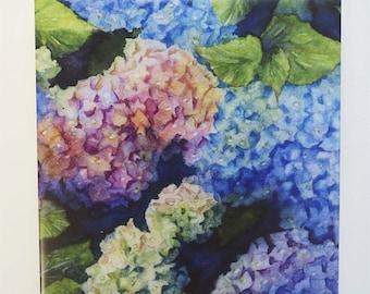 Hydrangea Tile Trivet Original Watercolor lilac Purple Blue