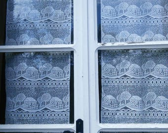 Pair Lace Curtain Panels Village House Trees Pattern French Vintage