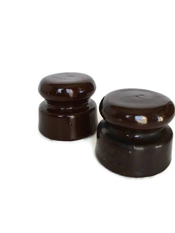 Porcelain insulator set vintage brown ceramic old electronic hardware