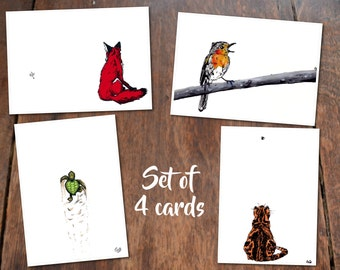 Reach your Goals Set of 4 Cards - Postcard with Illustration, animals cat fox turtle robin bird