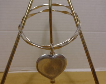 Vintage 925 CFJ Sterling Silver Double Bracelets with Large Silver Hanging Heart Charm