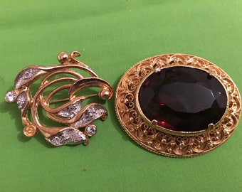Two Vintage Brooches - 1980s signed MOVITEX Brooch & chunkey red stone signed A1239 - Vintage Jewelry