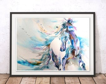 Horse Print, Horse Wall Art, Stallion Painting, Horse Painting, Horse Watercolour Wall Hanging, Blue Horse by Liz Chaderton