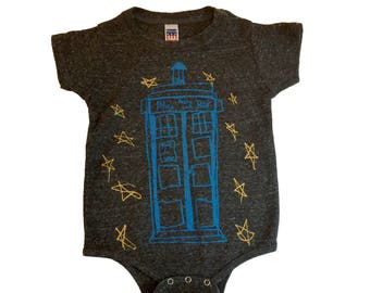 Dr Who Tardis infant one piece bodysuit-unisex-Tri Blend-T shirt style-Royal Apparel-sci fi-the tardis is blue-whovian-the doctor