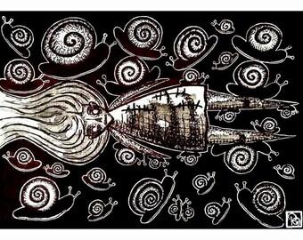 "Snails of the Undead, 5x7"" Original Artwork"