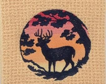 Deer in Sunset - Waffle Weave Microfiber Hand Towel - Butter