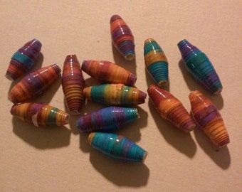 Lot of 13 Tropical colored handmade Paper Beads Handmade-paper beads=paper=jewelry supplies-beads-bead supplies-upcycled-recycled