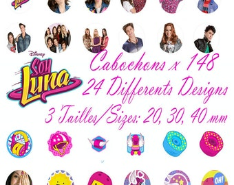 Soy Luna Disney Digital Collage 4 Sheets 148 images 20, 30, 40 mm Cabochon Bottlecap Pendant Magnet Topper  Printable Image clipart Download