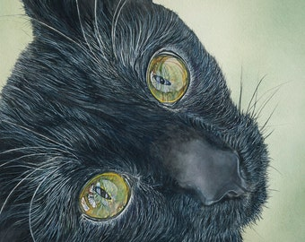 Black cat - Print of Original cat watercolor 5x7