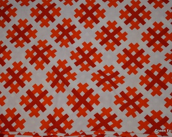 Geometric Red and Orange Lattice Vintage Fabric