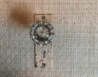 Vintage Glass Door Knob & Keyplate Wallhanger