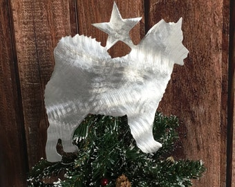 Alaskan Malamute, Metal Dog Tree Topper, Holiday, Wreath Decor, Christmas, Aluminum, Yard Stake or Wall Hanging, won't rust, lightweight