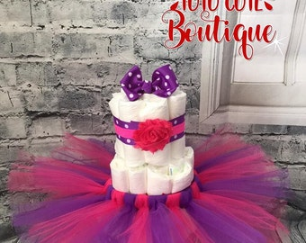 Tutu diaper cake, diaper cake, pink diaper cake, pink and purple diaper cake, girl baby shower gift, tutu baby shower decoration