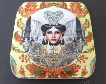 Vintage French Exotic Lady Miniature Metal embossed Tin Box Made to carry feminine hygiene pad in your purse