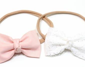 newborn headbands - baby headbands set - lace bow - white bow - baby girl - baby bow headbands - baby girl headband - LACE