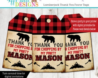 TIMBER! Lumberjack Boys Birthday Party Thank You Favor Tags Buffalo Plaid Camping- Lodge - Mountain