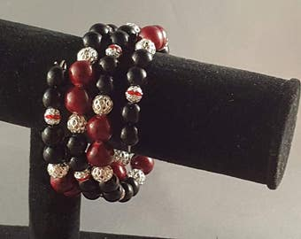 Midnight red memory wire bracelet