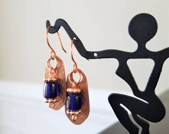 Etched Copper Earrings with Royal Blue beads