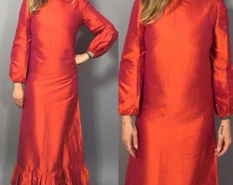 Vintage Maxi Dress / Orange Maxi Dress / Formal Evening Dress / Orange Silk Dress / Dupioni Silk Dress / Silk Gown / Indian Style Dress