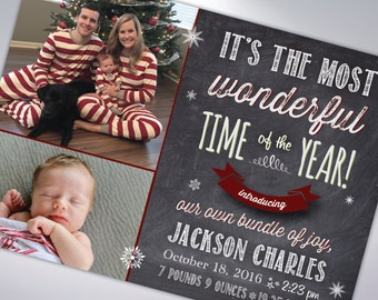 BABY ANNOUNCEMENT CHRISTMAS Cards and Envelopes   Postcard Option Available   Happy Holidays   Merry Christmas   Happy New Year