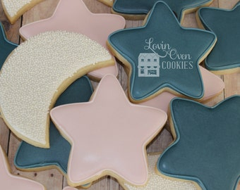 Moon and Star Decorated Sugar Cookies - 1 Dozen