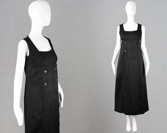 Vintage 60s LOUIS FERAUD Black Maxi Dress Thick Silk Dress Long Mod Dress 1960s Evening Gown French Designer Empire Line Sleeveless Party