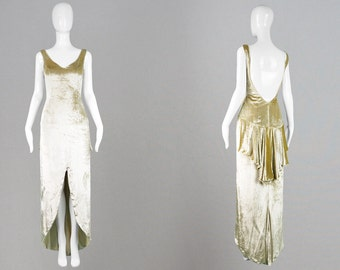 Vintage 90s DAVID FIELDEN Couture Gold Velvet Dress Silk Velvet Evening Gown Backless Dress Asymmetrical Gold 1930s Style Wedding Dress High