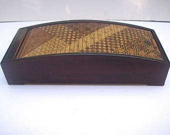 Vintage JAPANESE MARQUETRY WOOD 3-Compartment Box with Roll-Top Lid - Cards, etc