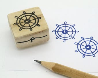 Ship Wheel rubber stamp