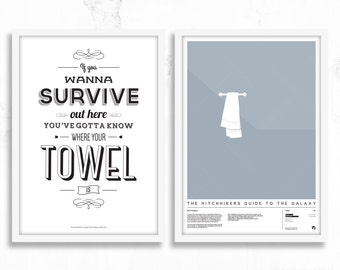 Hitchhiker's Guide To The Galaxy Poster Prints - Towel Day Set
