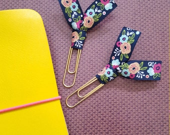 Large floral ribbon paper clips / Large floral ribbon page marker / Floral ribbon paperclips